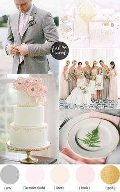 A pretty wedding palette of Gray and pink wedding colors, combined with grey + Blush + linen + gold wedding palette this palette would be lovely for spring or summer wedding