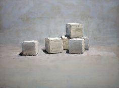 "Brian Blackham, ""Sugar Cubes"", 2016, oil on panel, 12 x 16"" 1/1 | Prographica Drawings"