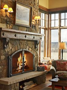 Great fireplace in rustic cabin fireplace, Beautiful Farmhouse Style Fireplace Ideas – Decorating Ideas - Home Decor Ideas and Tips Cabin Fireplace, Rustic Fireplaces, Farmhouse Fireplace, Fireplace Design, Rustic Farmhouse, Farmhouse Style, Fireplace Ideas, Fireplace In Kitchen, Fireplace Mantles