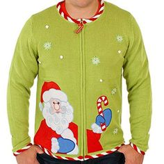 Ugly Christmas Sweater - Candy Cane Santa Cardigan in Green X-large By Festified
