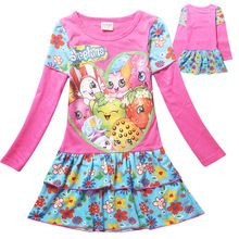 2016 New Spring SHOPKINS Kids Girls Clothing Long sleeve Cotton Dress baby kids tutu princess girls dresses 6-12Y(China (Mainland))