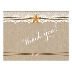 Rustic Beach Starfish Lace Wedding Thank You Postcard