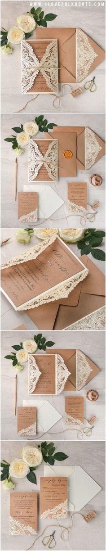 Laser cut Romantic Lace Wedding Invitations - calligraphy printing, wax stamping #romantic #elegant #weddingideas #eco #rustic #beautiful #lace