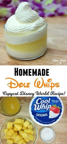Homemade Dole Whip 20 oz can of Pineapple Pieces (drained) (or use frozen) 8 oz container of Cool Whip 2 TBSP Sugar 1 Cup Pineapple Juice Blend until smooth, freeze until firm Add extra juice and enjoy Disney Desserts, Köstliche Desserts, Frozen Desserts, Delicious Desserts, Dessert Recipes, Yummy Food, Disney Recipes, Disney Dishes, Disney Drinks