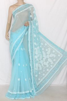 Light Blue Designer Hand Embroidered Lucknowi Chikankari Saree (With Blouse - Georgette Saree with Net Border) 14299