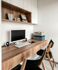 Contemporary Home Office Design Ideas - Search photos of contemporary home offices. Discover ideas for your trendy home office design with ideas for decor, storage as well as furniture. Office Nook, Home Office Space, Small Office, Home Office Desks, Home Office Furniture, Office Table, Furniture Design, Furniture Ideas, Office Shelf