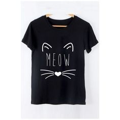 Cartoon Cat Pattern Round Neck Short Sleeve Cotton Graphic T-Shirt ($21) ❤ liked on Polyvore featuring tops, t-shirts, round neck tee, comic t shirts, cat tee, short sleeve tops and comic book