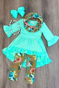 THE TAN MINT FLORAL HI-LOW TUNIC SCARF SET