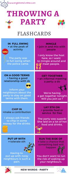 English Vocabulary flash cards - learn English fast and easy. Topic: organising a party.