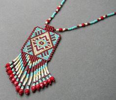 Colorful Ethnic Style Beaded Pendant peyote by Native Beading Patterns, Native Beadwork, Indian Beadwork, Seed Bead Necklace, Beaded Earrings, Beaded Jewelry Designs, Handmade Jewelry, Bead Loom Bracelets, Bead Embroidery Jewelry