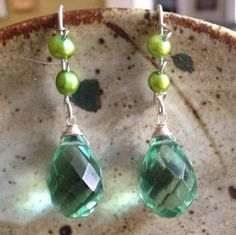 Sage green quartz and dyed fresh water pearl by MarquisCreations.  These great earrings have hand forged sterling silver ear hooks. Why wear what everyone else is wearing?