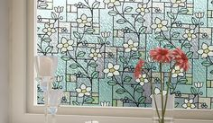 Easy Window Film - Stained Glass Flowers Privacy Film, $19.99 (http://www.easywindowfilm.com/stained-glass-flowers-privacy-film/)