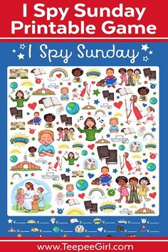 This free I Spy Sunday printable game is perfect for church, Sunday School, primary, and family home evening! Laminate it for use over & over! Sunday School Crafts For Kids, Sunday Activities, Sunday School Activities, Church Activities, Sunday School Lessons, Bible Activities, School Resources, Kids Church Games, Spy Games For Kids