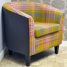 Red Check Fabric & Faux Leather Tub Arm Chair