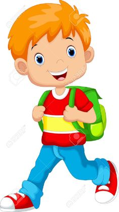 Cute boy on his way to school Stock Vector - 44627355 Cartoon Boy, Cartoon Pics, Cute Cartoon, School Clipart, Student Clipart, School Frame, Storybook Characters, Grande Section, Diy Crafts To Do