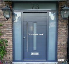 contemporary front door grey two sidelights & house number Grey Composite Front Door, Grey Front Doors, Front Door Porch, Porch Doors, Front Doors With Windows, Modern Front Door, Double Front Doors, Front Door Entrance, House Front Door