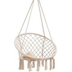 This trendy hammock chair swing is the perfect addition to your home, patio, or garden. It features a sturdy frame for durability with a tasteful bohemian style for a casual-retro touch. When youre ready to relax and unwind, hang it from any sturdy overhang to create a cozy resting spot. Its versatile enough to function as a hammock chair for lounging or to display as a unique centerpiece. Great for any season, you'll be swinging in style from almost any location you desire! Size: 23.6 inch D. C Rope Hammock, Rope Swing, Hammock Stand, Hammocks, Diy Hammock, Hanging Hammock Chair, Swinging Chair, Chair Swing, Porch Swing