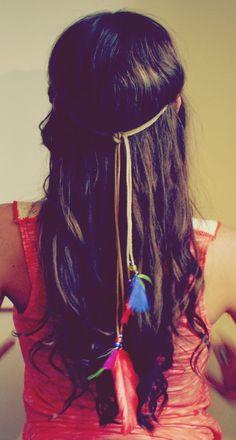 Handmade Leather Hippie Feather Headband Tie