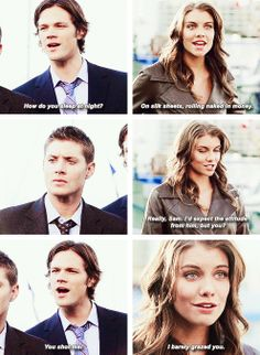 Bela with Sam and Dean | Supernatural quote (love Dean's facial response!)