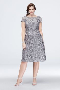 Lustrous rosette appliques and mini sequins give this plus-size A-line dress a fresh update. By Alex Evenings Nylon, rayon, polyester Back zipper; Mother Of Bride Outfits, Mother Of Groom Dresses, Mother Of The Bride, Fancy Dress Plus Size, Plus Size Dresses, Mob Dresses, Short Sleeve Dresses, Bride Dresses, Dress Brokat