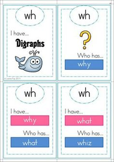 FREE WH Digraph word work unit. 84 pages in total. A page from the unit: I have who has? card game