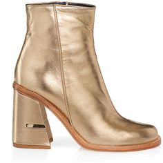 Tibi Nora Boots ($625) ❤ liked on Polyvore featuring shoes, boots, ankle booties, gold, short leather boots, tibi boots, leather bootie, leather booties and leather boots