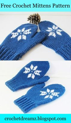 Snowflake Mittens, a free woman's crochet pattern you will love. It includes a video to show you how to change colors as well.  #crochetmittenspattern, #woman'smittenscrochetpattern, #freecrochetmittenspattern, #snowflakemittenscrochetpattern, #tapestry crochet pattern, #freecrochetmittenspattern