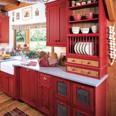 pretty Country Kitchen tin fronts on the drawer cabinets nice and you can punch designs in them yourself