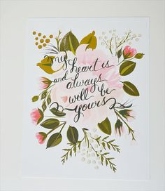 My heart Is Jane Austen quote 11 x 14 by firstsnowfall on Etsy, $46.00