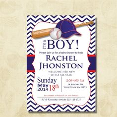Baseball Baby Shower Invitation. Chevron Sports Baby Shower Invitation, Printable, Digital file, DIY