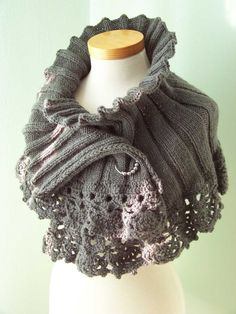 gorgeous grey lacy edged shrug      pattern