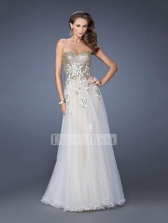 Elegant White/Gold Sweetheart Sequined Floral Appliques Tulle Prom Dress PD11586