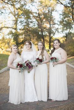 Classic Crimson and Champagne Fall Wedding | Virginia Wedding |  Champagne bridesmaid dresses