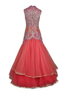 This Indo Western gown is featuring in peach and pink high neck net with rainbow Swarovski and silver gota. This gown comes with a full net see through back. Indian Wedding Outfits, Indian Outfits, Western Gown, Add Sleeves, Couture Embroidery, Lehenga Designs, Bollywood Fashion, Indian Fashion, Ball Gowns