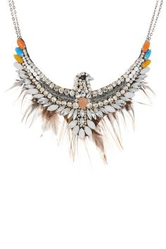 Eagle Feather Trim Statement Necklace by G-Lish on @HauteLook