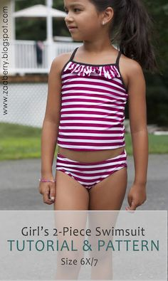 Zaaberry: Girls 2-Piece Swimsuit - TUTORIAL & PATTERN