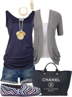 -Blue  Gray-you can do this too - navy drape tee, t- shirt topper  Lou Lou shorts!