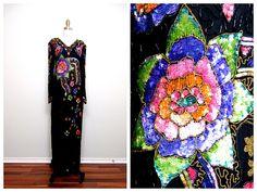 VTG Hand Beaded Dress // ART DECO Gown // Silk Multi by braxae