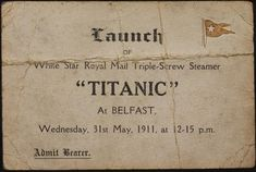 Captain Smith was planning to retire after Titanic's maiden voyage. The Titanic had 4 elevators in First class and 1 in Second class). At the time, Titanic's whistles were the larges… Rms Titanic, Titanic Sinking, Titanic History, Titanic Photos, Titanic Museum, Titanic Wreck, Titanic Movie, Ancient History, Belfast