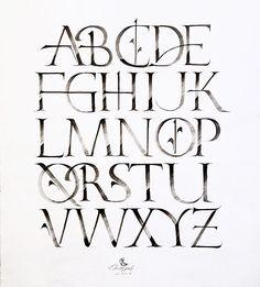 Day Roman Caps experiment with black acrilyc paint Full Alphabet Fonts, Roman Alphabet, Roman Letters, Calligraphy Alphabet, Calligraphy Fonts, Tattoo Lettering Fonts, Lettering Styles, Lettering Design, Letras Tattoo