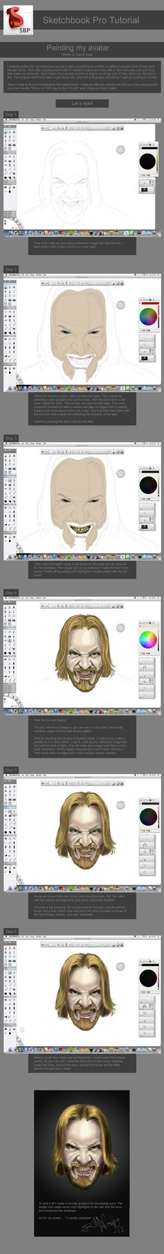 Sketchbook Pro tutorial on painting a face by ~DanielBNagy on deviantART