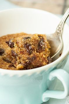 3 minutes from now you could be enjoying the most oooey, gooey Gluten Free Vegan Chocolate Chip Mug Cookie you've ever sunk a spoon into.