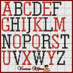 Monogram Cross Stitch, Cross Stitch Alphabet Patterns, Alphabet Charts, Embroidery Alphabet, Bead Loom Patterns, Stitch Patterns, Needlepoint Belts, Needlepoint Patterns, Plastic Canvas Letters