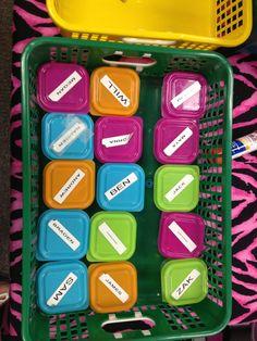 Headphone storage...I got these cases at Staples last summer in the dollar bins! - Lauren Vise (BES)