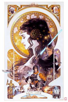 Skywalker – Tsuneo Sanda There it is, the whole sprawling Skywalker family saga summed up in one exquisite image by longtime Lucasfilm artist Sanda. It's enough art nouveau beauty to make Alphonse Mucha jealous. #StarWars