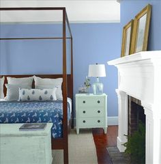 Look at the paint color combination I created with Benjamin Moore. Via @benjamin_moore. Wall: Steel Blue 823; Mantle: Chalk White 2126-70; Chest: Wythe Blue HC-143; Ceiling: Chalk White 2126-70.