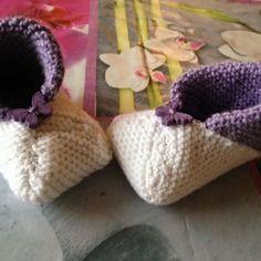 Chaussons bébé blanc et violet 3-6mois