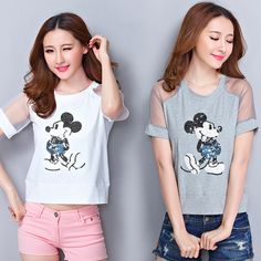 New Blusas Women Embroidered Sequined Cartoon Pattern Organza Short Sleeve Casual Summer t shirt Blouse Tee Plus Size Tops