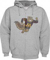 Minnesota Golden Gophers Grey Distressed Mascot Full Zip Hooded Sweatshirt