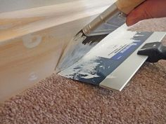 Painting trim, cutting corners. This idea for keeping carpets tidy is wonderful. I am not as sold on it for keeping walls clean, but if you hate taping and/or are no good at it, I guess its better than mess.